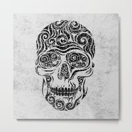 Swirly Skull Metal Print