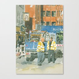 Roadworks in Old Compton Street Canvas Print