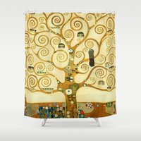 gustav klimt Shower Curtains featuring Gustav Klimt The Tree Of Life  by Art Gallery