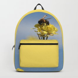 Honey bee on a wildflower Backpack