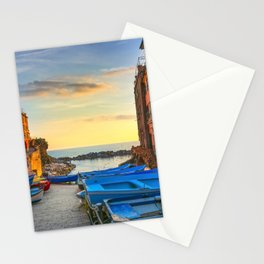 Riomaggiore village street a sunset. Cinque Terre, Ligury, Italy. Stationery Cards