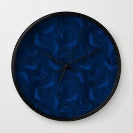 Flying Bat Embroidery // Dark Blue Wall Clock