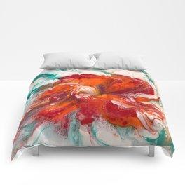Orange Flower Craze Comforters