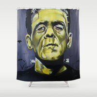 frankenstein Shower Curtains featuring Frankenstein by Larissa Ria Loomans