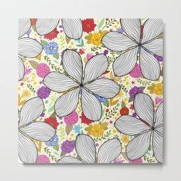 Spring Flowers Draw Pattern Metal Print