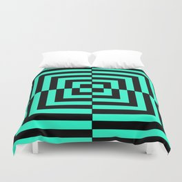 GRAPHIC GRID DIZZY SWIRL ABSTRACT DESIGN (BLACK AND GREEN AQUA) SERIES 5 OF 6 Duvet Cover