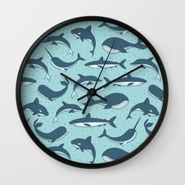 Cute Sea Creatures Pattern Wall Clock