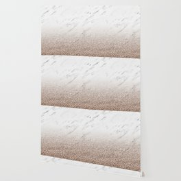 Glitter ombre - white marble & rose gold glitter Wallpaper