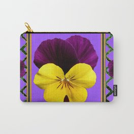 PURPLE & YELLOW SPRING PANSIES GARDEN Carry-All Pouch