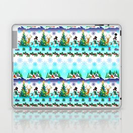 Christmas, Snowman Lawn Party with Friends Laptop & iPad Skin