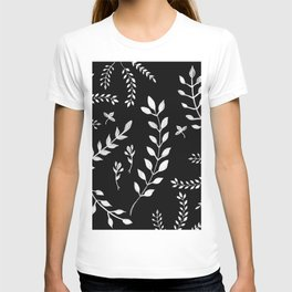 White Leaves Pattern #3 #drawing #decor #art #society6 T-shirt