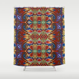 Oriental Watercolor Pattern Blue Red 1 Shower Curtain