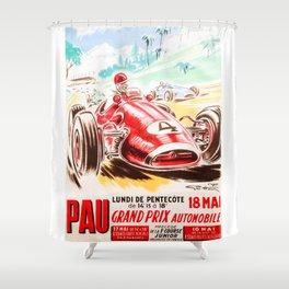 Grand Prix Pau, vintage poster, car t-shirt, car poster Shower Curtain