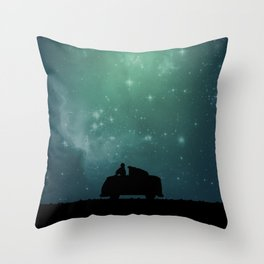 Looking Up at the Night Sky Throw Pillow
