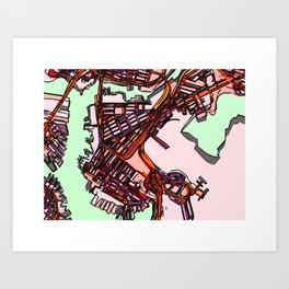 Abstract Map- East Boston Art Print