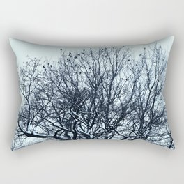 A flock of birds sitting on a tree on a winter day. Rectangular Pillow