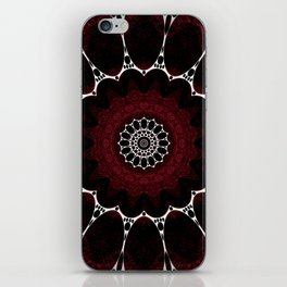Deep Ruby Red Mandala Design iPhone Skin
