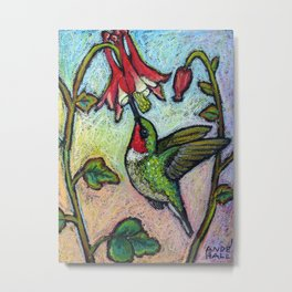Rubythroat and Red Columbine Metal Print