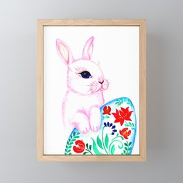 Easter Bunny and an Egg Framed Mini Art Print