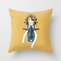 pilot Throw Pillows featuring Pilot Banner by Freeminds