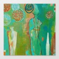 "flora bowley Canvas Prints featuring ""Wish Believe"" Original Painting by Flora Bowley by Flora Bowley"