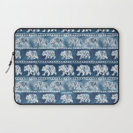 BEAR SPIRIT Indigo Watercolor California Bears Pattern Laptop Sleeve