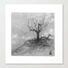 Tree on a hill - charcoal Canvas Print