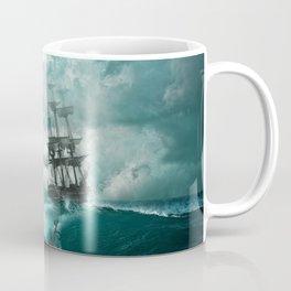 Storm Sea Ship Shipwreck Ocean Blue Coffee Mug