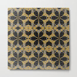 Gold and Onyx Venus Sacred Geometry Boho Star Metal Print