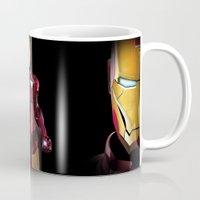 tony stark Mugs featuring Iron venger, Tony Stark, Iron amor  by Babylon ART