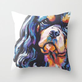 black and tan Cavalier King Charles Spaniel Dog Portrait Pop Art painting by Lea Throw Pillow