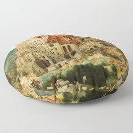 The Tower of Babel 1563 Floor Pillow