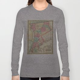 Vintage Map of Westchester New York (1864) Long Sleeve T-shirt