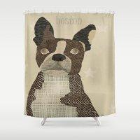 boston Shower Curtains featuring boston bulldog  by bri.buckley