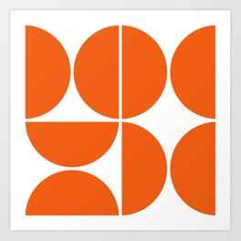Mid Century Modern Orange Square Art Print
