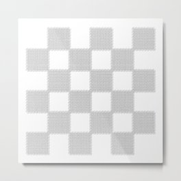 3D Line Drawing Cubes - Checkers Metal Print