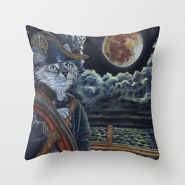 Sea Captain Cat Throw Pillow
