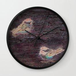 Weathered Chickadees Wall Clock