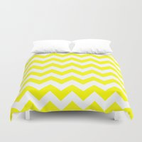 chevron Duvet Covers featuring Chevron (Yellow/White) by 10813 Apparel