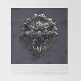 Foo Lion Dog Mask Throw Blanket