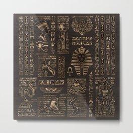 Egyptian hieroglyphs and deities - gold on wood Metal Print