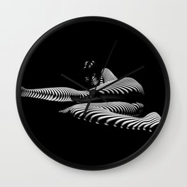 8428-KMA BW Art Nude Abstract Zebra Stripe Woman Long Legs Wall Clock