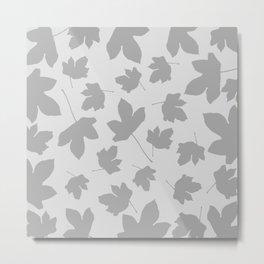 Grey leaves decor. opposite. Metal Print