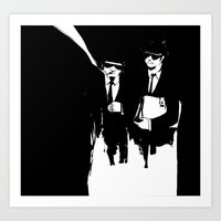 blues brothers Art Prints featuring blues brothers by serenita