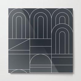 Deco Geometric 04 Black Metal Print