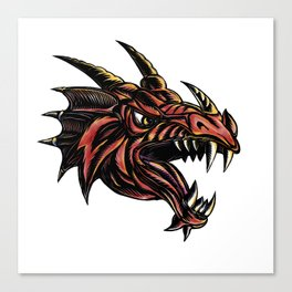 Angry Dragon Head Scratchboard Canvas Print