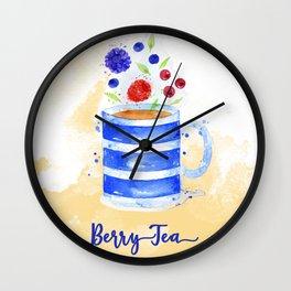 Berry Tea in Watercolor Wall Clock