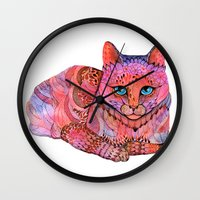 stickers Wall Clocks featuring SUNSET CAT by Ola Liola