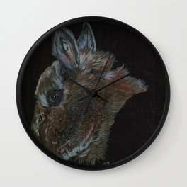 Peanut the netherland dwarf and rescue bunny Wall Clock