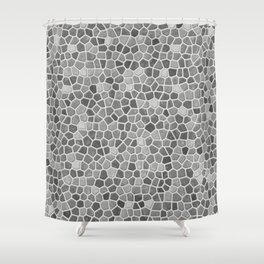 Faux Mosaic in light grays Shower Curtain
